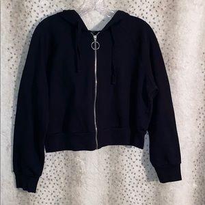 Cropped black zipper hoodie